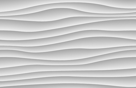 White abstract wave background. 3d waves pattern texture. Geometric black and white wallpaper. Curve wall decor pattern. Vector