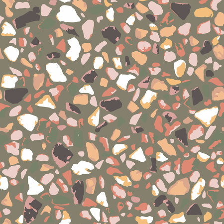 Terrazzo flooring, seamless pattern, brown background texture. Abstract vector design for print on floor, wall, tile or textile.