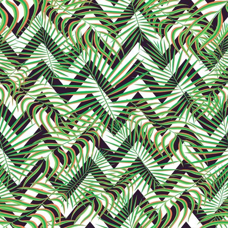 Tropics seamless pattern background. Modern exotic tropical leaves,backdrop pattern with seamless zigzag lines. Summer colorful trendy natural print for decoration fabric, fashion textile. Vector art
