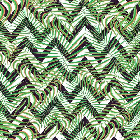 Tropiques sans soudure de fond. Feuilles tropicales exotiques modernes, motif de toile de fond avec des lignes en zigzag sans soudure. Imprimé naturel tendance coloré d'été pour tissu de décoration, textile de mode. Art vectoriel