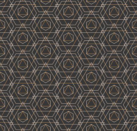 Repetitive Elegant Graphic Luxury, Background Pattern. Repeat White Vector Web Decoration Texture. Continuous Ornament Cell, Array Texture. Black Decor Pattern Illusztráció