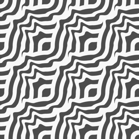 Continuous Islamic Vector Wavy Art Pattern. Repeat Simple Graphic Flow Tile Texture. Seamless Line Optical Lattice Texture. Vintage Wallpaper Pattern.