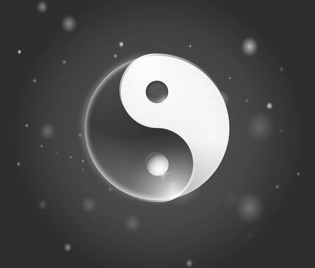 Ying yang symbol. Yin yan karma icon. Yinyang tao balance logo. Zen harmony background. Buddha mandala sign. Yoga peace spiritual design. Asian meditation art element. Illustration