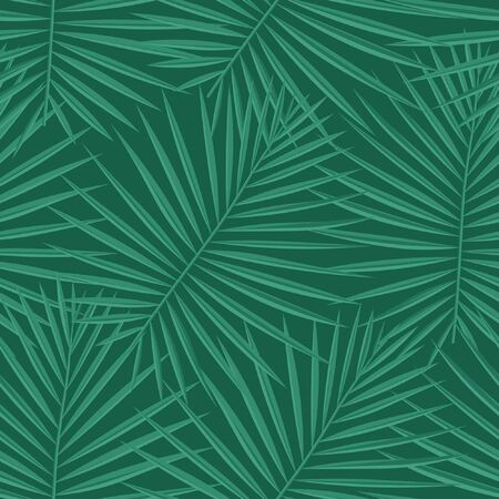 Spring Repeated Trendy Graphic Foliage. Green Seamless Summer Vector Background. Bright Repeated Hawaii Vector Leaves. Vector, Eco Seamless Pattern. Tropical, Pattern, Ilustrace