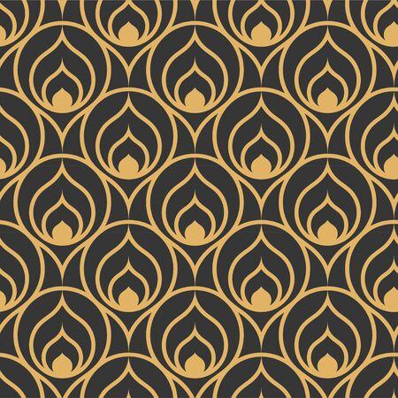 Repetitive Ornate Graphic Roaring Tile Texture. Continuous Ornament Vector 1930s Textile Pattern. Repeat Islamic Arc Print Texture. Linear Plexus Pattern.