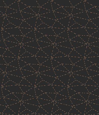 Continuous Monochrome Vector Hexagon Array Pattern. Golden Line Graphic, Web Background Texture. Dark Minimal Polygon, Print Texture. Vintage Textile Pattern