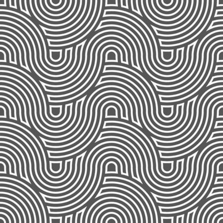 Continuous Vintage Vector Continuous Print Texture. Repetitive Decorative Graphic Flow Swatch Pattern. Seamless Modern Curly Decoration Texture. Ornate Deco Pattern. Ilustrace