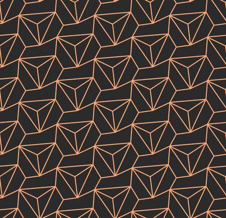 Dark Monochrome Graphic Triangular Art Pattern. Golden Modern Vector, Web Tile Texture. Repetitive Abstract Poly, Wallpaper Texture. Ornate Decor Pattern