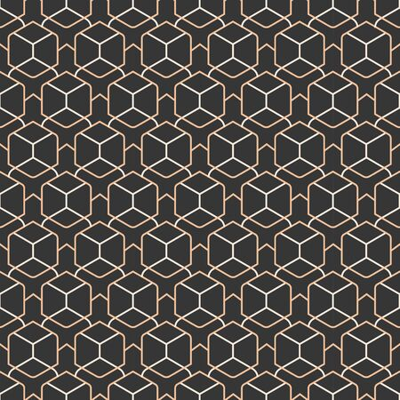 Continuous Ornate Vector Luxury, Tile Pattern. Seamless Linear Graphic Dark Background Texture. Repeat Black Diagonal, Decor Texture. Ramadan Deco Pattern Çizim