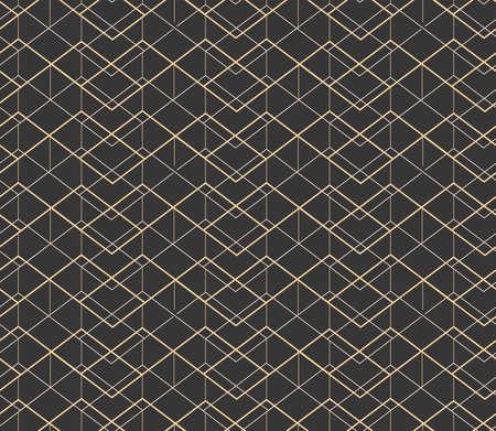 Continuous Ornate Vector 1920 Tile Texture. Dark Black Graphic Artdeco Design Pattern. Golden Islamic Continuous Print Texture. Wave Decoration Pattern.