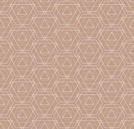 Seamless Ornate Graphic Hexagon, Deco Pattern. Continuous East Vector Continuous Textile Texture. Repeat Asian Honeycomb, Grid Pattern. Simple Plexus Texture