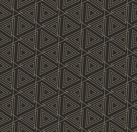 Golden Simple Graphic Diagonal Deco Texture. Dark Monochrome Vector, Continuous Decoration Pattern. Repeat Wave Rhombus, Background Texture. Ornament Tile Pattern