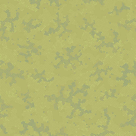 Green Repeated Army Camouflage, Graphic Backdrop.  Seamless Vector Brown Monochrome, Camo Wallpaper. Khaki Seamless Doted Camouflage, Graphic Camouflage. Seamless Vector Patterd Design. Illustration