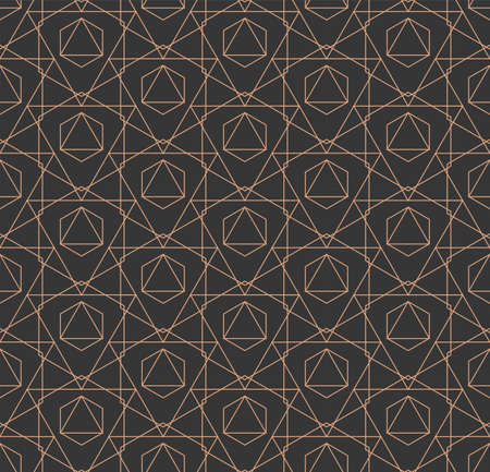 Seamless Monochrome Graphic Symmetrical, Tile Texture. Continuous Tileable Vector Luxury Swatch Pattern. Repetitive Retro Hex, Print Texture. Minimal Art Pattern