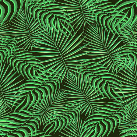 Tropical pattern seamless background. Palm leaves, modern seamless summer tropic art. Colorful trendy natural botanic print for decoration fabric,fashion textile. Palm tree leaf.Vector tropics botany 写真素材