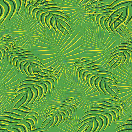 Exotic tropic pattern. Tropical floral fabric fashion background. Palm leaf textile color vintage summer . Natural leaves tropical . Seamless vector design for wallpaper, swimwear print decoration