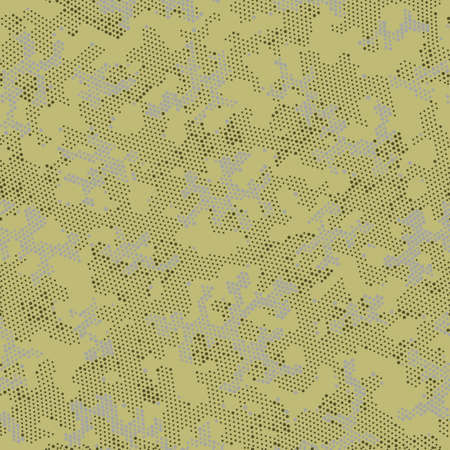 Beige Seamless Point Camouflage, Vector Wallpaper.  Repeated Graphic Khaki Halftone, Camo Pattern. Brown Repeated Modern Camouflage, Vector Wrapping. Seamless Vector Patterd Design.  イラスト・ベクター素材