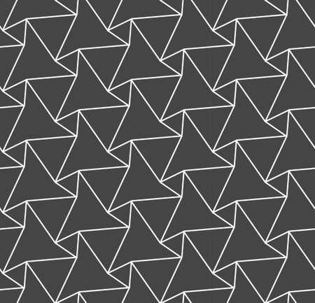 Continuous Ornate Graphic Symmetrical, Design Texture. Repetitive Linear Vector Poly Tile Pattern. Repeat Black Diagonal, Repetition Pattern. Classic Lattice Texture