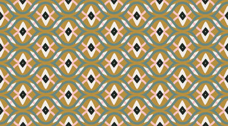 Pattern vintage seamless.  Geometric fashion fabric print.  Color mosaic shapes background.  Seamless vector pattern.  イラスト・ベクター素材