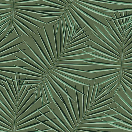 Vivid Repeated Palm Vector Textile. Vibrant Seamless Hawaii Graphic Print. Pattern, Eco Seamless Pattern. Tropical, Vector, Light Seamless Spring Vector Texture.  イラスト・ベクター素材