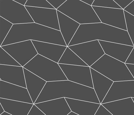 Repeat Monochrome Vector Cell Wallpaper Pattern. Seamless Linear Graphic, Technology Pattern Texture. Continuous Classic Rhombus, Decor Texture. Fabric Design Pattern  イラスト・ベクター素材