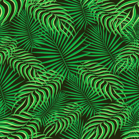 Tropical pattern seamless background. Palm leaves, modern seamless summer tropic art. Colorful trendy natural botanic print for decoration fabric,fashion textile. Palm tree leaf.Vector tropics botany  イラスト・ベクター素材