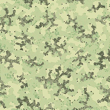 Green Repeated Halftone Camouflage, Vector Art.  Seamless Graphic Brown Color, Camo Print. Khaki Repeated Army Camouflage, Vector Texture. Seamless Vector Patterd Design.