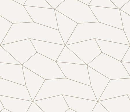 Repetitive White Vector Geo Repeat Texture. Seamless Linear Graphic, Poly Textile Pattern. Repeat Line Polygon, Plexus Pattern. Vintage Grid Texture