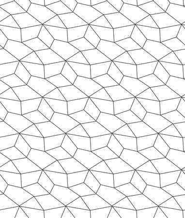 Repeat Simple Graphic Rhombus Lattice Texture. Seamless Vintage Vector, Triangular Decor Pattern. Continuous Ramadan Continuous, Texture Pattern. Black Design Texture  イラスト・ベクター素材