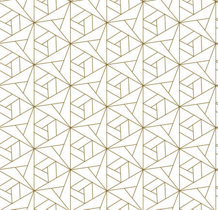 Continuous Decorative Graphic Geo, Wallpaper Pattern. Repetitive Ornament Vector Symmetrical Shapes Texture. Repeat Asian Triangle, Decoration Pattern. Monochrome Repetition Texture