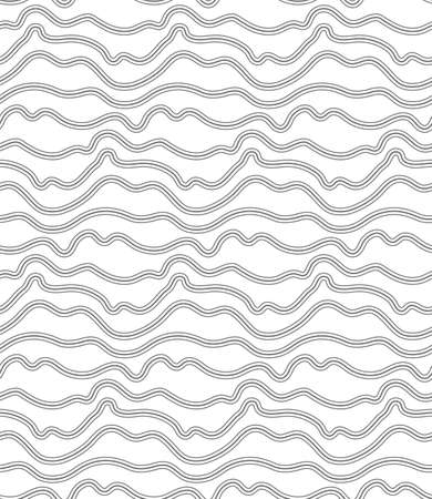 Continuous Monochrome Vector Curved Background Pattern. Repeat Geometric Graphic Flow Array Texture. Seamless Classic Wavy Decor Texture. East Repeat Pattern.  イラスト・ベクター素材
