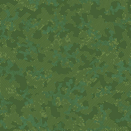 Green Seamless Army Camouflage, Vector Pattern.  Repeated Graphic Brown Monochrome, Camo Texture. Khaki Seamless Military Camouflage, Graphic Camouflage. Seamless Vector Patterd Design.