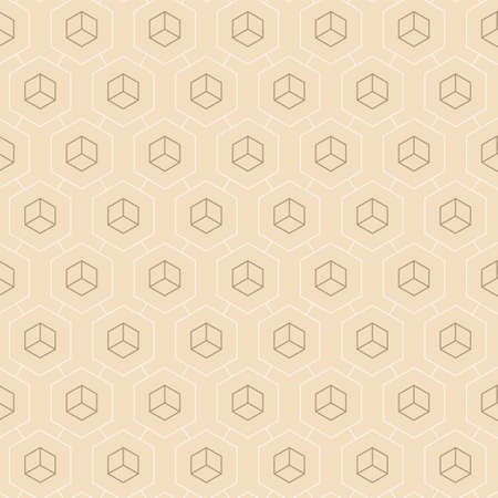 Seamless Tileable Graphic Cell, Lattice Texture. Continuous Ornament Vector Hexagon Print Pattern. Repetitive White Web, Design Texture. Modern Background Pattern