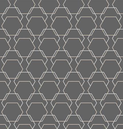 Continuous Elegant Graphic Hexagon, Decoration Pattern. Repeat Geometric Vector Symmetrical Texture Texture. Seamless Wave Technology, Backdrop Pattern. Minimal Textile Texture Illustration