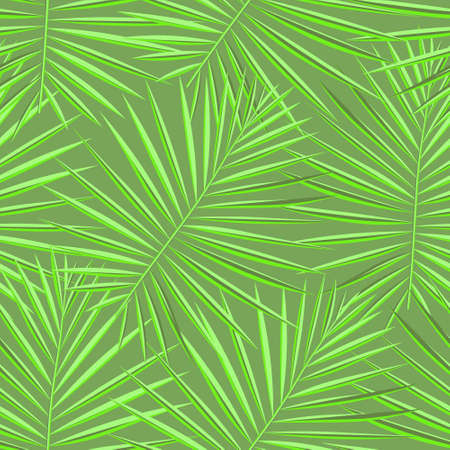Light Seamless Isolated Vector Textile. Vivid Repeated Tree Graphic Fabric. Tropical, Pattern, Green Seamless Pattern. Eco Seamless Palm Vector Background. Vector,