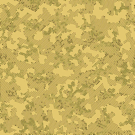 Khaki Repeated Monochrome Camouflage, Vector Camouflage.  Seamless Graphic Brown Circle, Camo Backdrop. Beige Seamless Digital Camouflage, Graphic Camo. Seamless Vector Patterd Design.