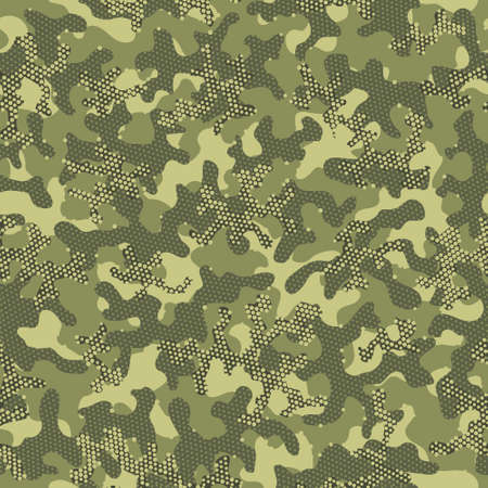 Green Repeated Creative Vector Clouds. Brown Seamless War Graphic Art. Camouflage Army Olive Camouflage Seamless Pattern. Beige Repeated Military Graphic Wrapping. Green