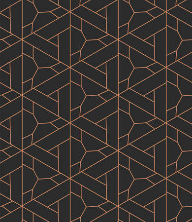Continuous Linear Vector Poly Array Pattern. Seamless Fabric Graphic, Continuous Repetition Texture. Dark Retro Geo, Design Pattern. Elegant Textile Texture
