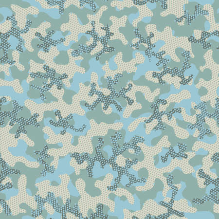 Olive Repeated Fashion Graphic Background. Light Seamless War Vector Wallpaper. Camouflage Texture Bright Camouflage Seamless Pattern. Khaki Repeated Doted Graphic Print. Green Illustration