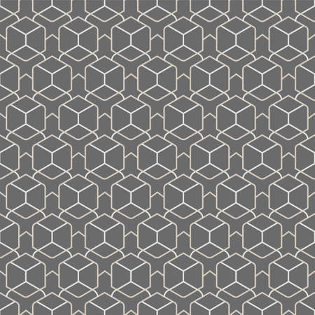 Repetitive East Vector Hex, Grid Texture. Repeat Fabric Graphic Hexagon Shapes Pattern. Seamless Fashion Technology, Plexus Texture. Retro Deco Pattern Illustration