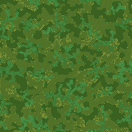 Brown Seamless Point Camouflage, Graphic Camouflage.  Repeated Vector Green Abstract, Camo Wallpaper. Khaki Seamless Military Camouflage, Vector Wrapping. Seamless Vector Patterd Design. Illustration