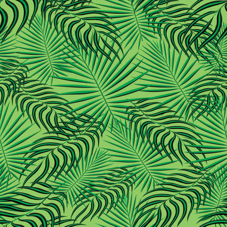 Tropical palm leaves pattern seamless background. Exotic floral fashion foliage art pattern. Seamless beautiful botany palm tree summer decoration design. Print pattern for textile swimwear. Vector Illustration