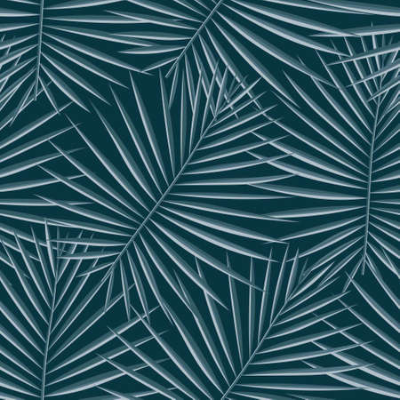 Vivid Repeated Plant Graphic Illustration. Vibrant Seamless Spring Vector Art. Light Repeated Palm Vector Leaves. Eco Seamless Pattern. Tropical, Pattern, Vector,