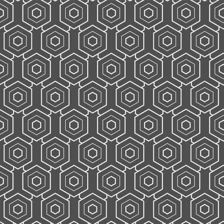 Continuous Linear Graphic Hex, Textile Pattern. Repetitive Creative Vector Honeycomb Decoration Texture. Seamless Minimal Polygon, Deco Texture. Black Pattern Pattern