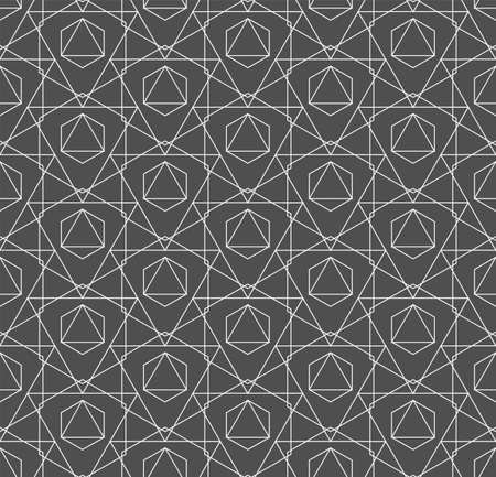 Seamless Decorative Graphic Technology, Wallpaper Pattern. Repeat Linear Vector Poly Backdrop Texture. Repetitive Asian Symmetrical, Lattice Pattern. Creative Textile Texture