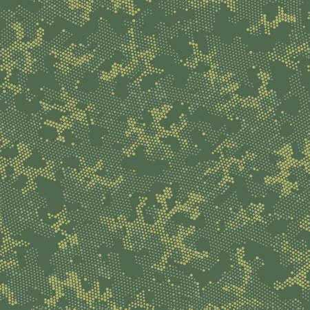 Seamless Vector Patterd Design.  Seamless Graphic Green Halftone, Camo Design. Beige Repeated Spots Camouflage, Vector Pattern. Khaki Repeated Color Camouflage, Vector Wallpaper. Illustration