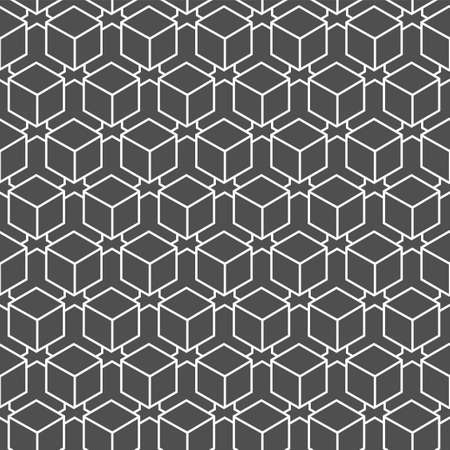Continuous Wave Graphic Rhombus, Decoration Texture. Repetitive Black Vector Cell Deco Pattern. Repeat Ornament Technology, Background Texture. Islamic Shapes Pattern