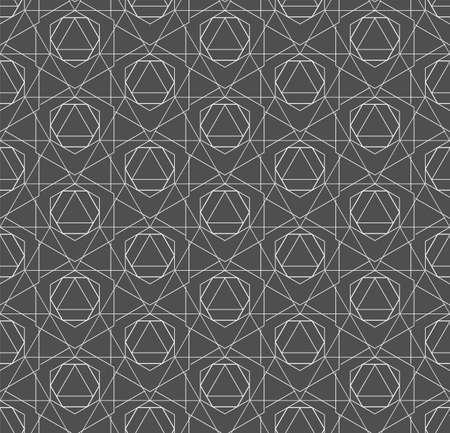 Seamless Vintage Graphic Web, Decor Pattern. Repetitive Tileable Vector Hexagon Lattice Texture. Repeat Wave Poly, Repetition Texture. Line Plexus Pattern