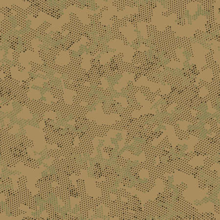 Green Repeated Point Camouflage, Graphic Camo.  Seamless Vector Brown Circle, Camo Design. Khaki Seamless Creative Camouflage, Vector Wallpaper. Seamless Vector Patterd Design.