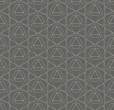 Continuous Black Vector Hex, Decor Pattern. Repeat Elegant Graphic Technology Swatch Texture. Seamless Wave Cell, Lattice Texture. Islamic Repeat Pattern Illustration